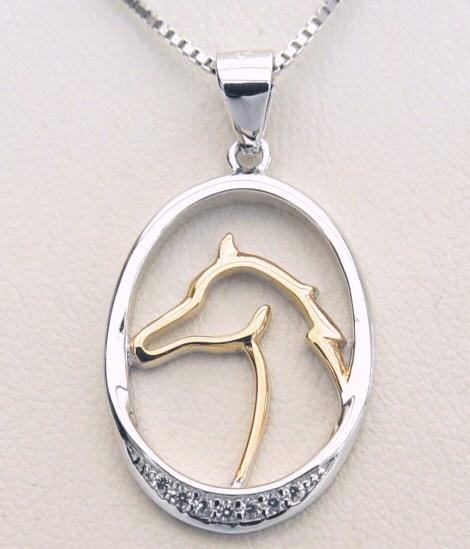 Lovely HORSE HEAD Silhouette NECKLACE Pendant Equestrian - UK Stock cZutjm
