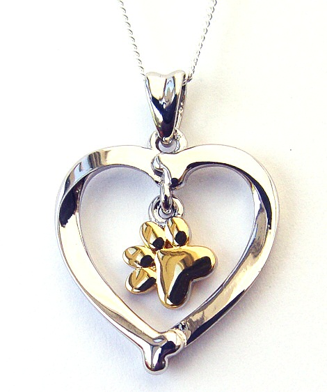 Gold Pawprints In My Heart Necklace