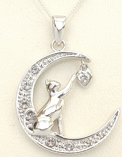 Cat necklace cat necklaces sterling silver and silver plated cat you touch my heart necklace aloadofball Gallery